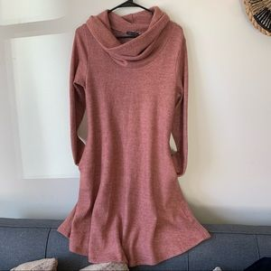 Sweet Claire Plush Cowl Neck Sweater Dress Pockets